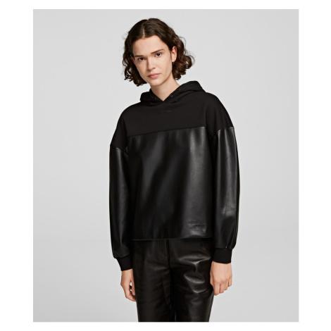 Mikina Karl Lagerfeld Faux Leather Fabric Mix Hoodie - Černá