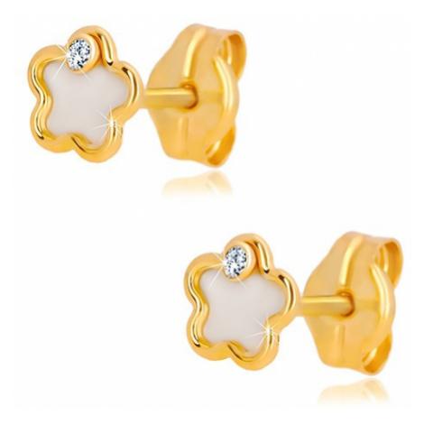 Náušnice ze 14K žlutého zlata - květ s přírodní perletí a zirkonem