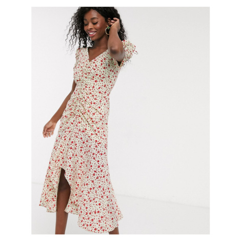 C/Meo Collective Intersect ruched floral midi dress in citron ditsy-Green