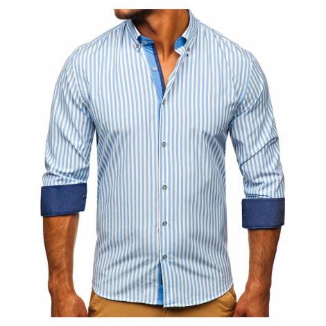 Blankytná pánská pruhovaná košile s dlouhým rukávem Bolf 20704