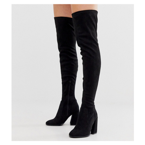 ASOS DESIGN Wide Fit Wide Leg Korey heeled thigh high boots in black