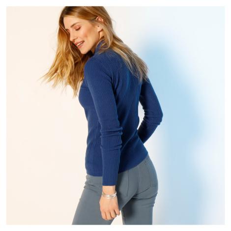 Blancheporte Žebrovaný pulovr se stojáčkem, délka cca 63 cm tmavě modrá
