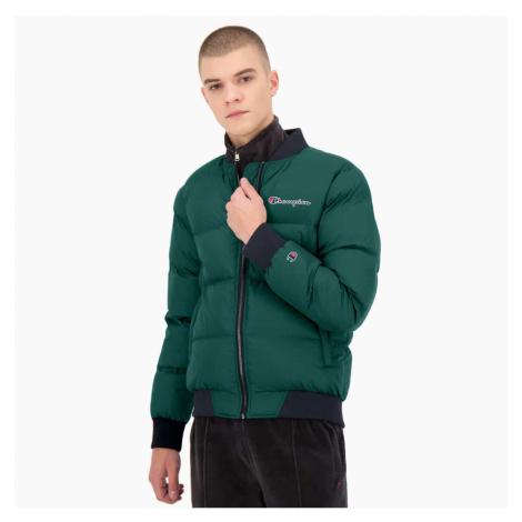 Zelená bunda Script Logo Padded Bomber Jacket Jacket Champion