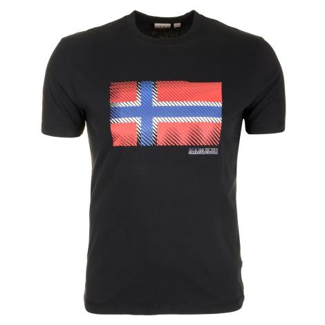Pánské černé tričko Napapijri s velkou vlajkou