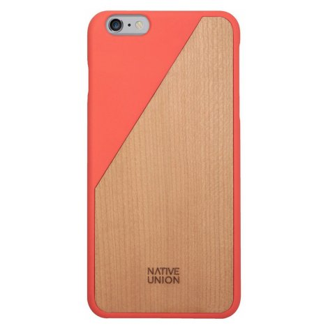 Kryt na iPhone 6 Plus – Clic Wooden Coral Red Native Union