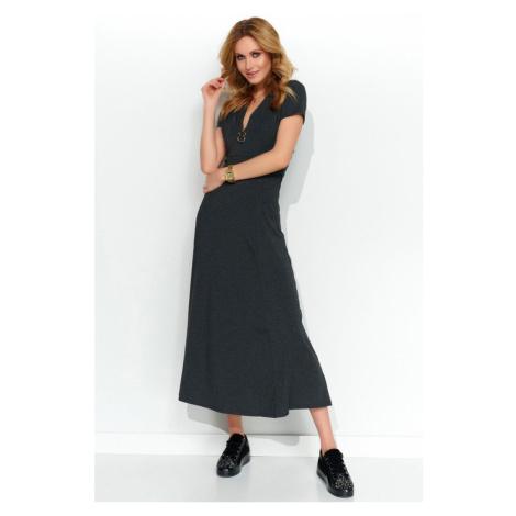 Tmavě šedé maxi šaty M506 Makadamia