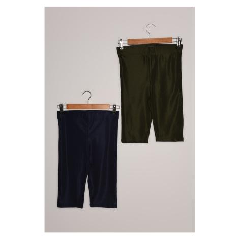 Trendyol Navy-Khaki 2-Pack Biker Glossy Knit Sport Tights