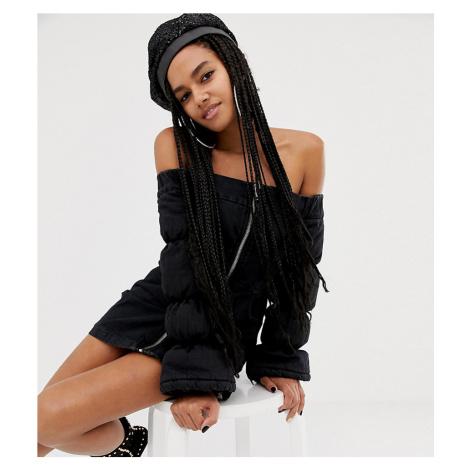 ASOS DESIGN x LaQuan Smith padded off shoulder dress in denim - Black