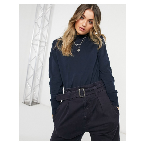 Monki Ambidextra knit jumper in navy blue