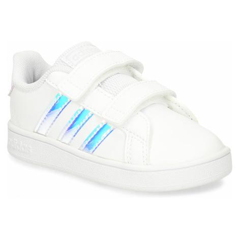 Dětské bílé tenisky s neonovým detailem Adidas