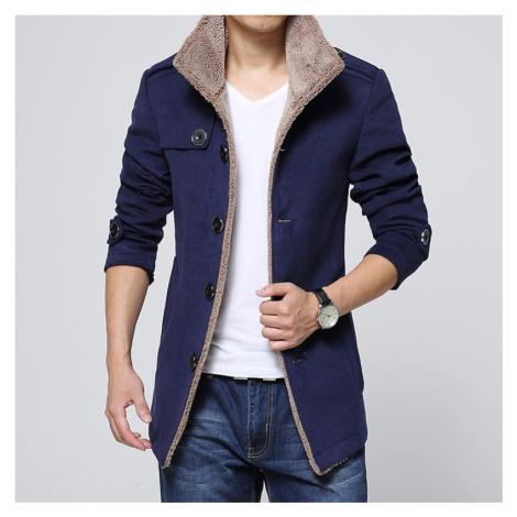 Pánský kabátek na knoflíky zateplený kabát s podšívkou z ovčí vlny