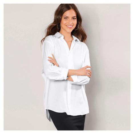 Košile se 3/4 rukávy a zakulaceným spodn bílá