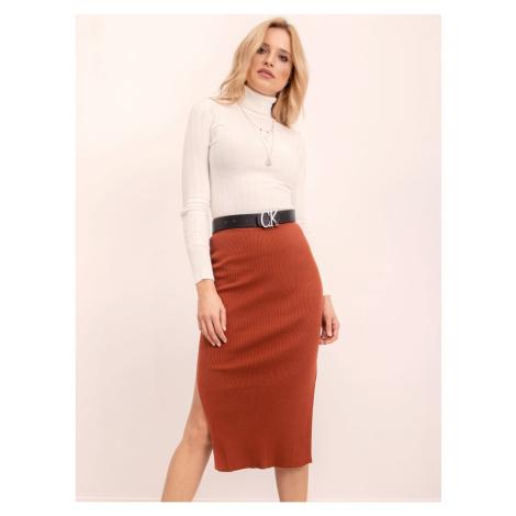 Ribbed dark orange BSL skirt Fashionhunters