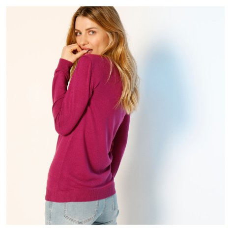 Blancheporte Pulovr s kulatým výstřihem purpurová