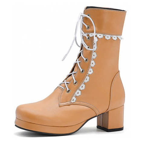 Kožené černé polokozačky bílé šněrovací boty na podpatku