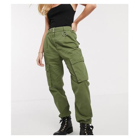 Bershka pocket detail cargo trousers in khaki-Green