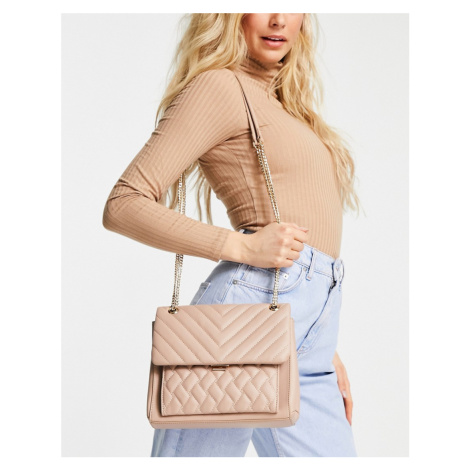 Forever New quilted cross body bag with gold chain handle in taupe-Beige