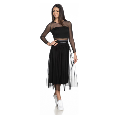 Calvin Klein Calvin Klein Jeans dámská černá sukně LOGO ELASTIC MESH MIDI SKIRT