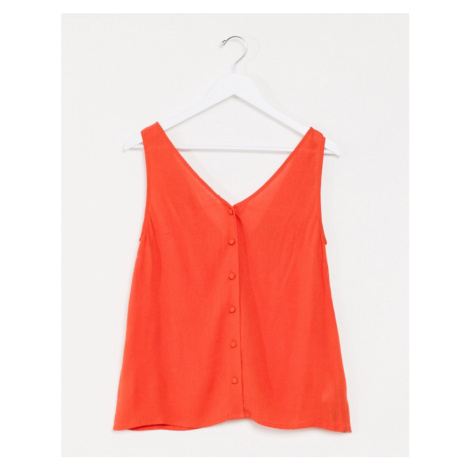 ASOS DESIGN button through crinkle vest in tange red-No colour