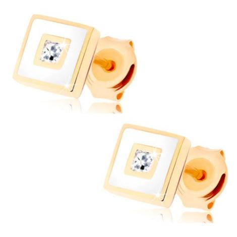 Zlaté náušnice 585 - čtvereček zdobený bílou glazurou, čirý zirkon Šperky eshop