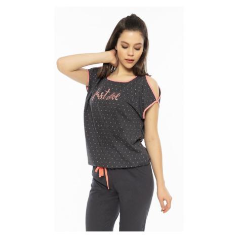 Dámské pyžamo s krátkým rukávem Just love, XL, tmavě šedá Vienetta Secret