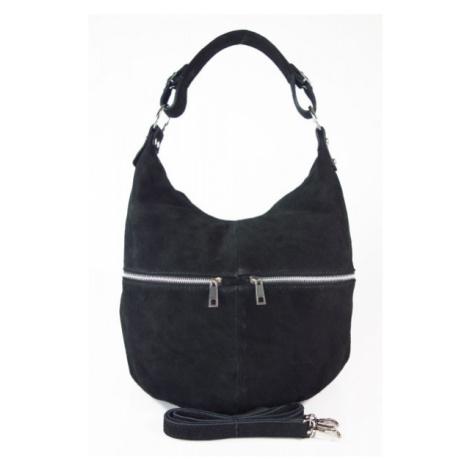 Kožená kabelka přes rameno Vera Pelle W345R černá