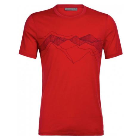 Icebreaker TECH LITE SS CREWE PEAK PATTERNS červená - Pánské funkční tričko Icebreaker Merino
