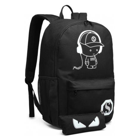 Černý zářící nepromokavý batoh s pouzdrem a USB portem Marten Lulu Bags