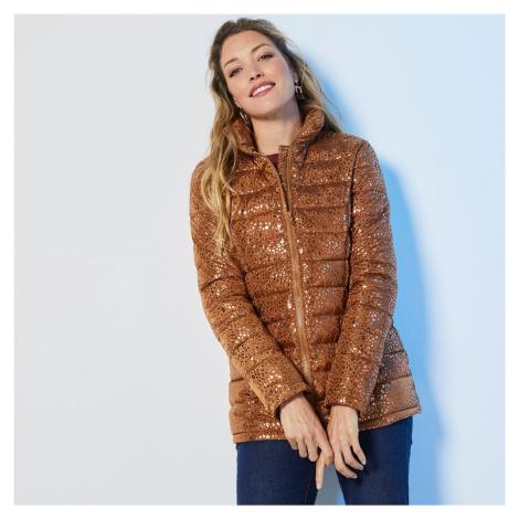 Blancheporte Krátká prošívaná lesklá bunda potisk karamelová