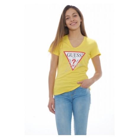 Guess GUESS dámské žluté tričko s trojúhelníkem