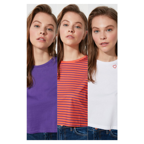 Trendyol MulticolorEd Striped White Embroidery and Purple 3 Pack Bike Collar Crop Knitted T-Shir