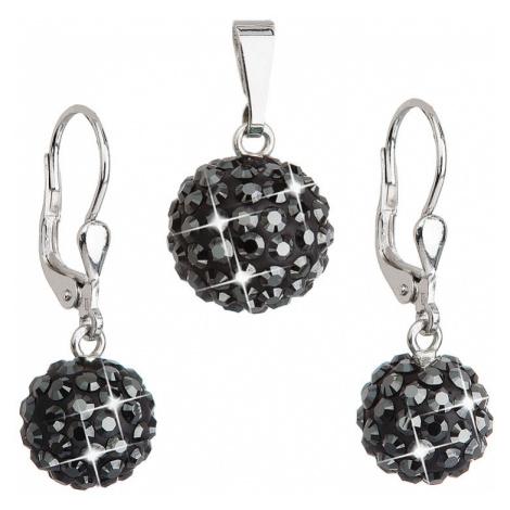 Sada šperků s krystaly Swarovski náušnice a přívěsek černé kulaté 39072.5 Victum