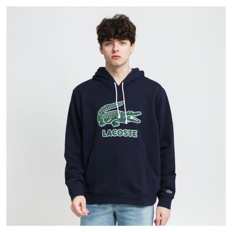 LACOSTE Men's Crackled Print Logo Fleece Hoodie navy