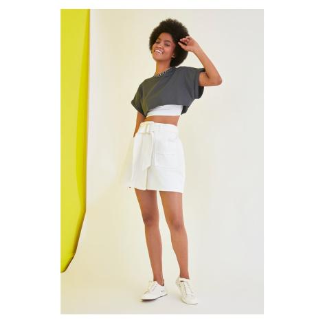 Trendyol White Belt Detailed Denim Skirt