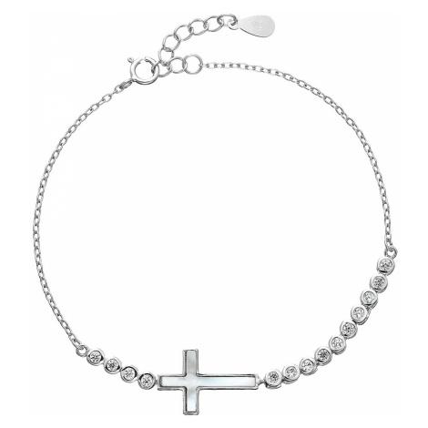 Stříbrný náramek se zirkony křížek 13016.1 Victum