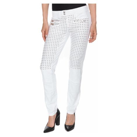 Bílé jeans se stříbrnými cvočky a zipy JUST CAVALLI