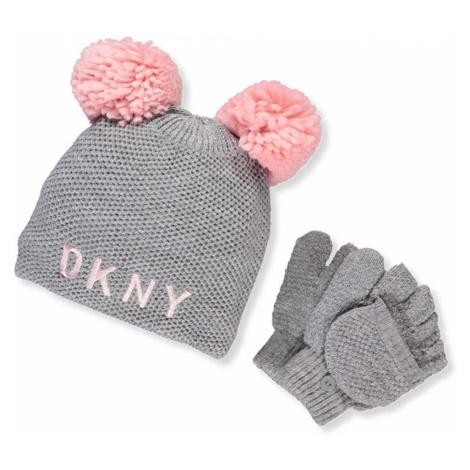 DKNY Girls' Knit Beanie & Gloves Set - Gray, čepice a rukavice