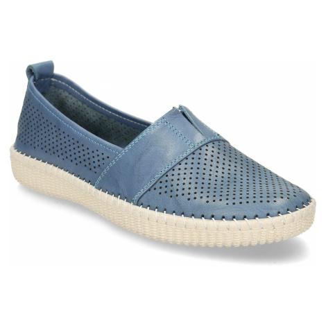 Modrá dámská kožená slip-on obuv s perforací Baťa