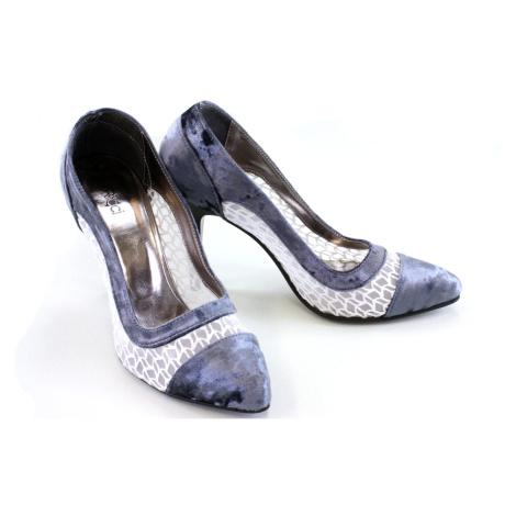 Sametově modré dámské trendy lodičky Nenie