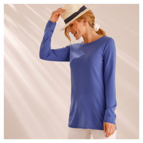 Blancheporte Jednobarevný pulovr se šněrováním vzadu modrá