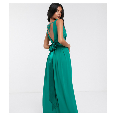 TFNC Bridesmaid maxi dress with bow back in emerald green