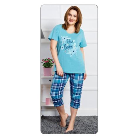 Dámské pyžamo kapri Rose garden, 1XL, tyrkysová Vienetta Secret