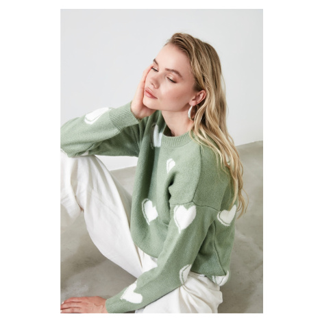 Trendyol Mint Heart Patterned Knitwear Knitwear Sweater