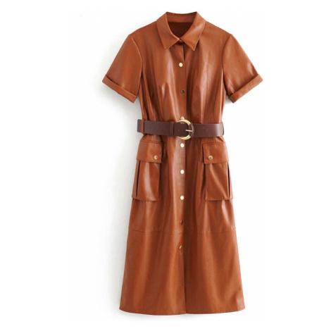 Modní retro šaty černé kožené na druky s krátkým rukávem
