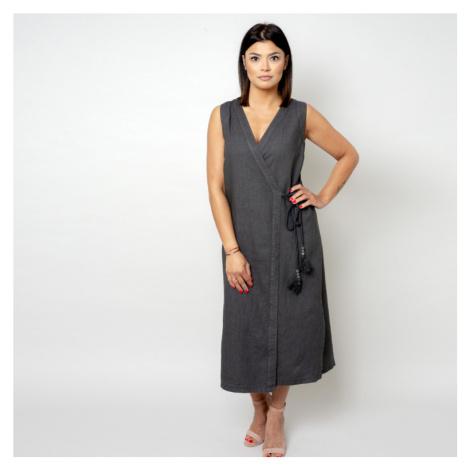 Dlouhé šaty antracitové barvy 10784 Willsoor
