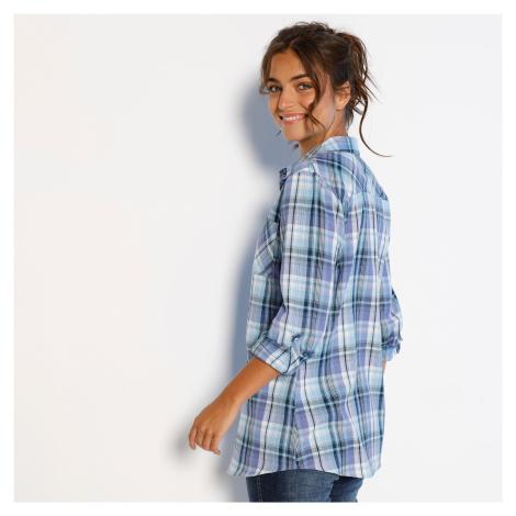 Blancheporte Flanelová košile, potisk kostky modrá/fialová