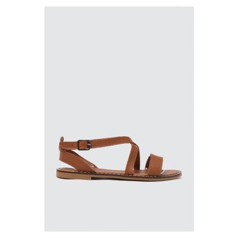 Trendyol Tan Genuine Leather Women Sandals