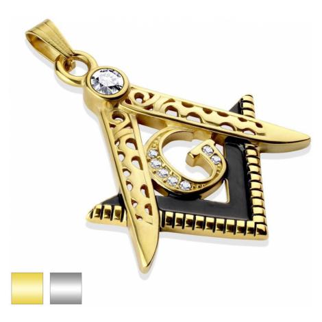 Ocelový přívěsek ve dvoubarevném provedení, symbol svobodných zednářů, čiré zirkony - Barva: Zla Šperky eshop