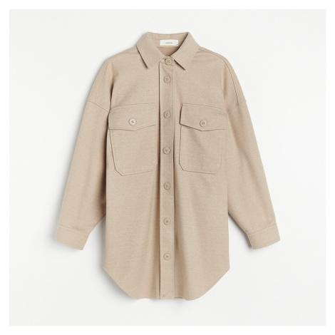 Reserved - Košilová bunda z keprového žerzeje - Béžová