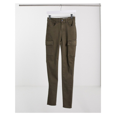 Noisy May high waisted jeans with cargo pockets in khaki-Green